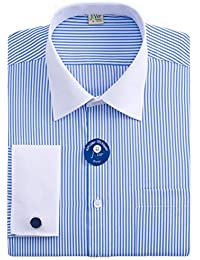 Men's Regular Fit French Cuff Spead Collar Long Sleeve Metal Cufflink Dress Shirts