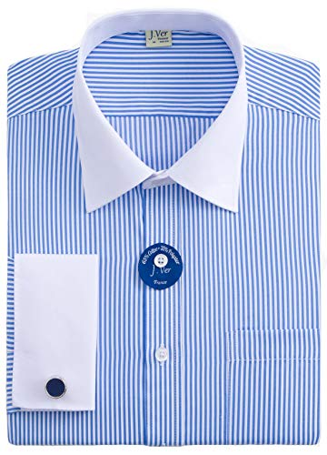 J.VER Men's French Cuff Dress Shirts Regular Fit Long Sleeve Spead Collar Metal Cufflink - Color:Stripe 01 Light Blue, Size: 15