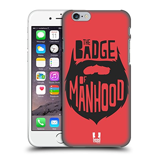 Head Case Designs Badge Of Manhood Bearded Bravado Cover Retro Rigida per Apple iPhone 6 / 6s