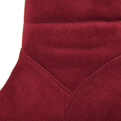 Allhqfashion Womens High-top Pull-on Frosted Kitten-hakken Ronde Gesloten Teen Laarzen Claret