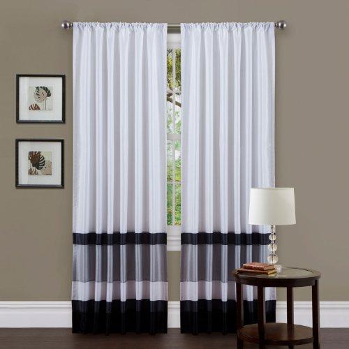 Triangle Home Fashions 19334 Lush Decor 54-inch x 84-Inch Iman Curtain Panel, White/Black