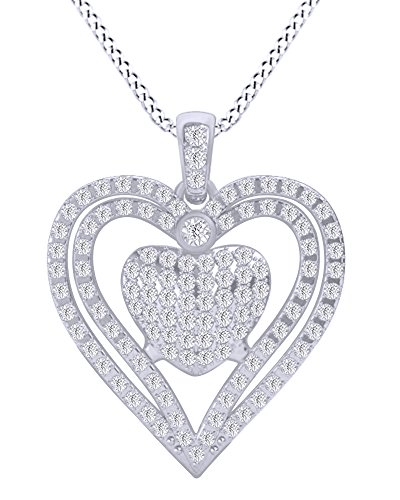 Round White Natural Diamond Double Heart Sweetheart Pendant Nacklace in 10k White Gold