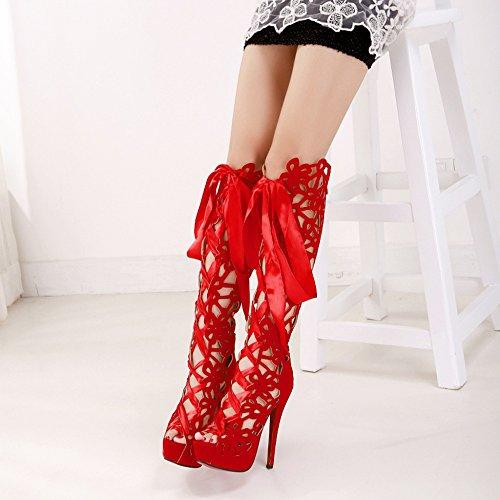 Cordones Cosplay Puntera Abierta Botas Para Con Sexy Mujer Sandalias Stiletto Plataforma Pumps Red De Mujer Nightclub gTIqO5wRx