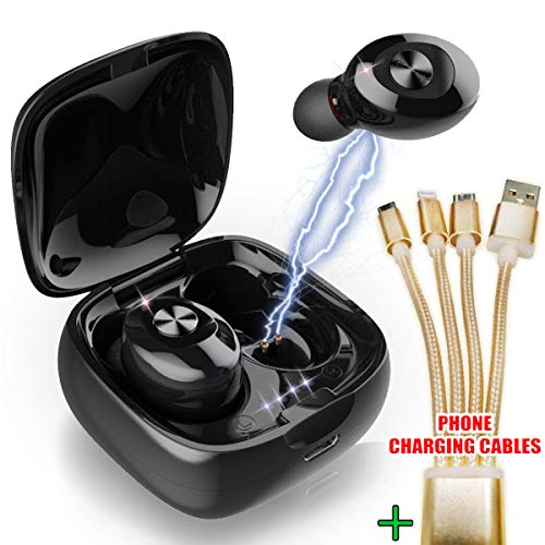 Nakosite POP2433 Wireless Earbuds Bluetooth Headphones with Amazing in Ear Stereo Sound A Cordless Black Earphones Sport Headset with mic for Smart Phone. Golden Phone Charging Cable
