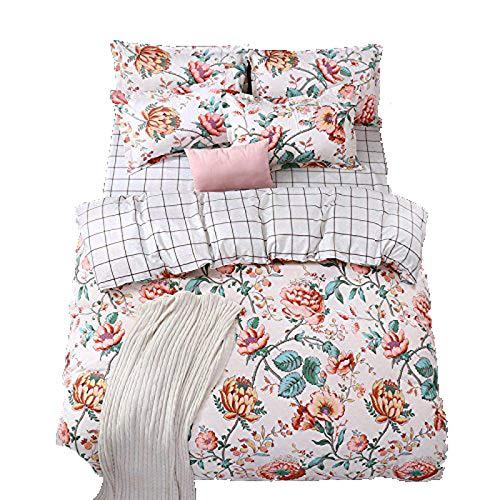 4pcs Kids Beddingset No Comforter Duvet Cover Flat Sheet Pillowcase Twin Full Queen FD Children Duvet Cover Set Cappuccino Design (Queen, Flower)