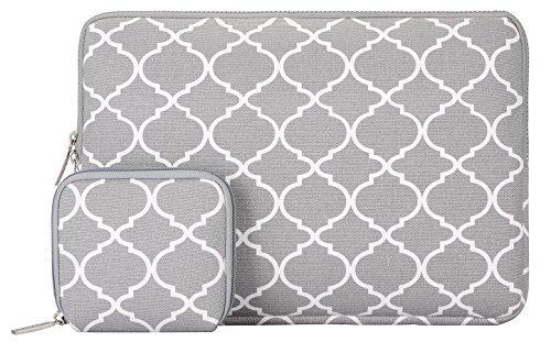 Mosiso - Quatrefoil / Moroccan Trellis Stil Canvas-Gewebe Hülle Sleeve Tasche für 12,9 Zoll iPad Pro / 13,3 Zoll Laptop / Notebook Computer / MacBook Pro / MacBook Air, Grau