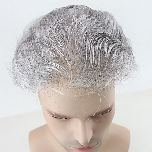 Dreambeauty Men's Toupee 10×8 inch Human Hair Thin Skin Hairpiece Hair Replacement System Monofilament Net Base for Men (20% #2 Mix 80% silver hair) by Dream Beauty (Image #6)