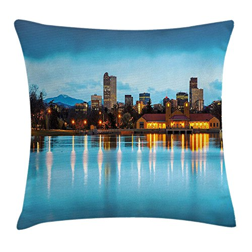 Queolszi Urban Throw Pillow Cushion Cover, Downtown Denver Ferril Lake Colorado at The Morning City Park Capital, Decorative Square Accent Pillow Case, 18 X 18 Inches, Sky Blue Yellow Orange]()