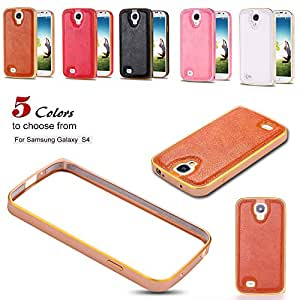 For Samsung Galaxy S5 i9600 Aluminum Bumper Case Luxury Gold Metal Frame Bumper PU Leather Back Capa Cover Bumper High Quality --- Color:Pink