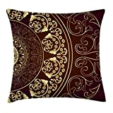 Ambesonne Mandala Throw Pillow Cushion Cover, Vintage Ethnic Asian Spiritual Cosmos Pattern with Swirled Floral Leaves Artwork, Decorative Square Accent Pillow Case, 16 X 16 Inches, Burgundy Gold
