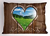 Ambesonne Outhouse Pillow Sham, Heart Window View from Wooden Rustic Farm Barn Shed with Chalk Art Image, Decorative Standard King Size Printed Pillowcase, 36 X 20 inches, Brown Blue and Green