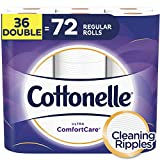 Cottonelle Toilet Paper, 36 Double Rolls (Equal to 72 Regular Rolls), 2-ply, Ultra ComfortCare, Soft Bath Tissue, Biodegradable, Septic-Safe