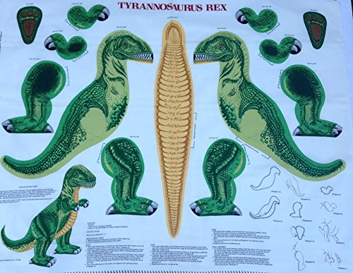 Tyrannosaurus Rex Pillow or Stuffed Animal Shaped Fabric Panel (Great for Sewing, Craft Projects, Pillows, Appliques and More) 16 Tall Dinosaur Cranston Print Works