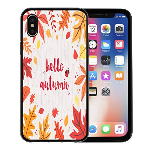 Semtomn Phone Case for iPhone Xs case,Orange Ladybug Hello Autumn on Gray Wooden Colorful and Vivid Composition of Text Leaves Bug Red Vintage for iPhone X Case,Rubber Border Protective Case,Black ()