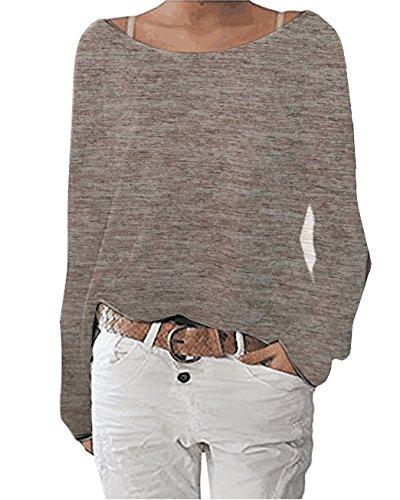 Solido a Camicie Maglie di Manica Colore a Casual Lunga Donna Barca T Moda Top Maglietta Shirt Sciolto Scollo Marrone Smalltile Bluse Pw7zqa5xtn