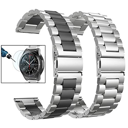 Valkit Compatible Gear S3 Frontier/Classic Watch Bands, 22mm Stainless Steel Solid Wrist Band Metal Strap Business Bracelet +Screen Protector Replacement for Gear S3 Frontier/Classic/Galaxy Watch 46mm