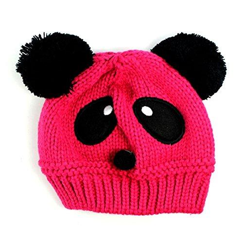 Baby Panda Cap,Misaky Kids Girls Boys Stretchy Warm Winter Hat Beanie (Hot Pink)