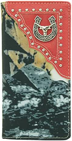 RIDE AWAY Longhorn Head Horseshoe Mens Wallet Western Long Bifold Check Book Style