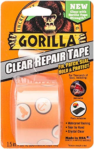 "Gorilla Crystal Clear Duct Tape, 1.88"" x 5 yd, Clear,"