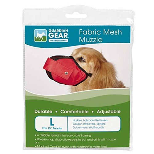 Guardian Gear FABRIC MESH DOG MUZZLES Comfortable Soft Red Muzzle for Dogs That Bite or Chew(Large)