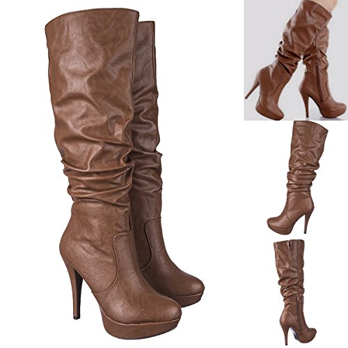 Boots Zipper Platform Heel Womens Stiletto Knee Leatherette Lustacious High Side with Bottom Slouchy Tan nwPf0IqI