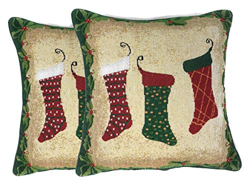 Tache 2 Piece Green Festive Tapestry Christmas Holiday Hang My Stockings The Fireplace Decorative Accent Throw Pillow Cushion Cover