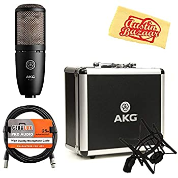 Image of AKG P220 High-Performance Vocal Condenser Microphone Bundle with XLR Cable and Austin Bazaar Polishing Cloth Condenser Microphones