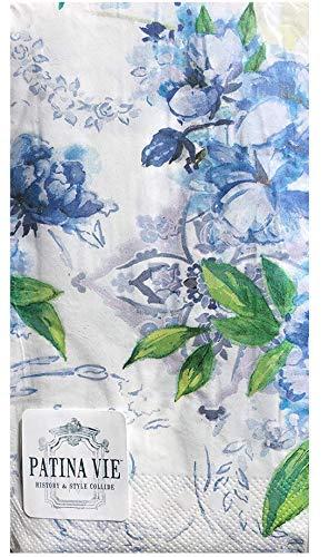 Patina Vie Blue Floral Guest Towels Hostess Paper Napkins, (8028) 36 ct - Blue Guest Napkins