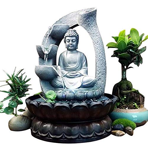Xshelley 11 inch Buddha Resin Tabletop Fountain Decoration (Budha Fountain)