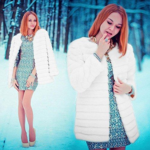 invierno Parka abrigo mujer para de Internet Abrigo Outerwear Chaqueta sintética Blanco de Ladies cálido Escudo New piel pqBOd6xq