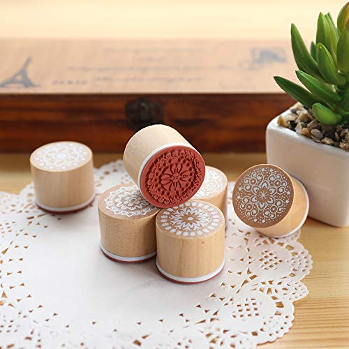 Retro Vintage Floral Flower Pattern Rubber Stamp Set for DIY Craft Card Making Planner Scrapbooking Supplies Magnoloran 12 Pieces Wooden Stamps