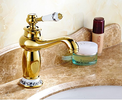 Luxury Bathroom Faucet Gold Finished , Single Handle Single Hole Mixer Tap Bathroom Sink Faucet with Hot and Cold Water Supply Lines(Easy Install)