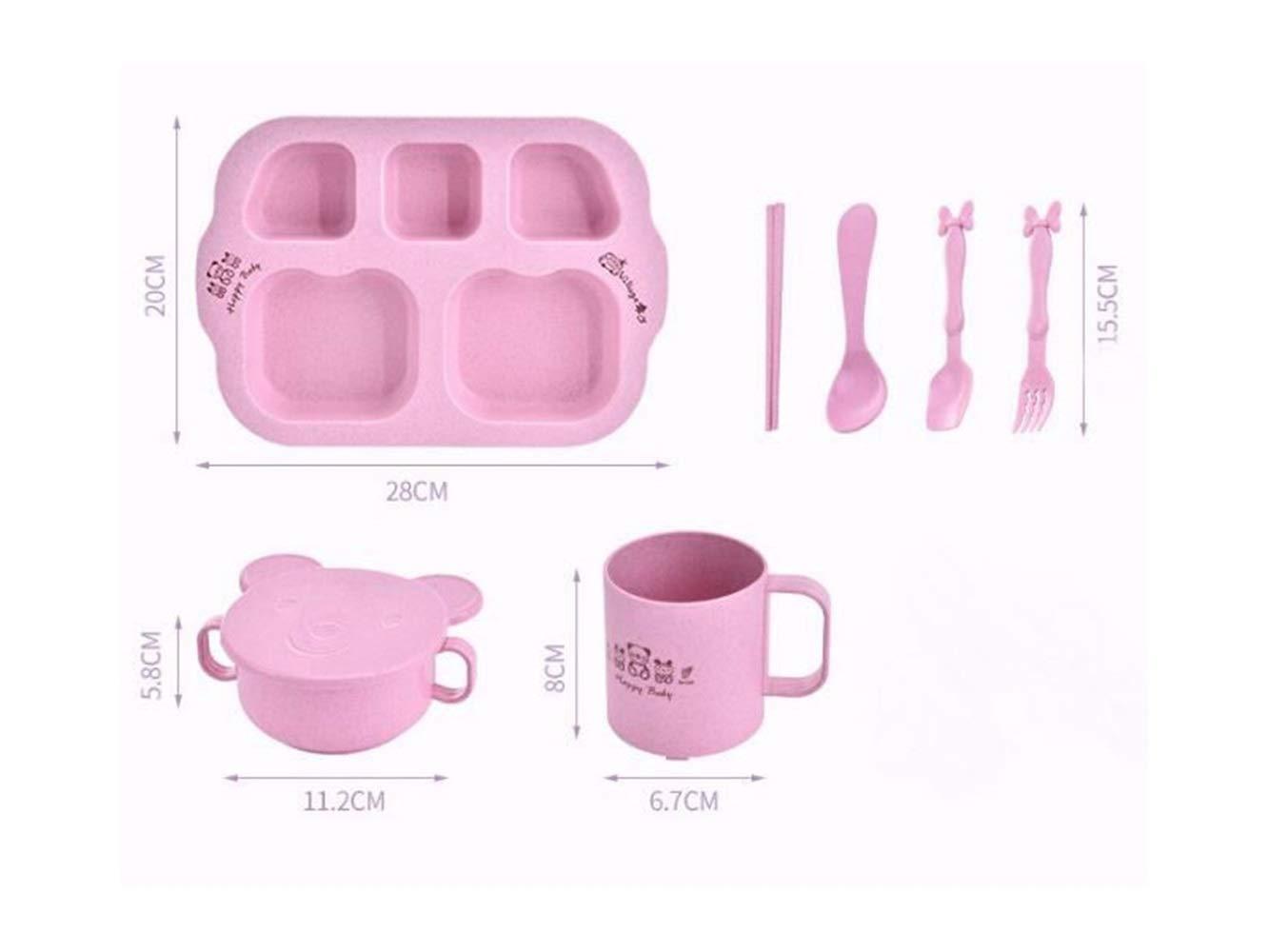 Flowerrs Rutschfest Weizenfaserschale Kinderschale Kinder Separate Schüssel Set für Suppe oder Reis (Pink) für Kinder