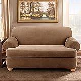 Sure Fit Stretch Stripe 2-Piece - Sofa Slipcover  - Brown (SF37655)