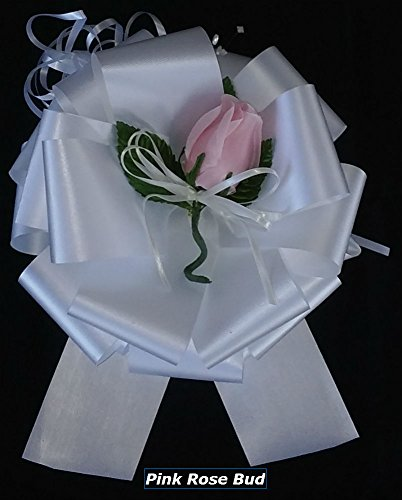 Ribbons Roses Florist - 6 DIY Easy Assembly Pew Bows Kits - Each Includes an 8-inch florist Satin Ribbon Pull Bow, a Pink Rose Bud and a Spool of 6-inch wide X 25-feet Long Tulle.