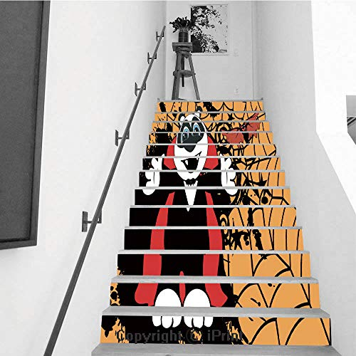 Stair Stickers Wall Stickers,13 PCS Self-Adhesive,Make Your Home Unique,Cute Little Panda Bear Hug Dracula Costume Halloween -