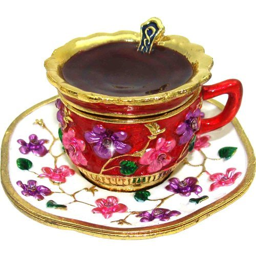 Objet D'Art Release 385 Café Au Lait European Espresso Cup with Spoon Handmade Jeweled Metal  Enamel Trinket Box