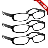 Reading Glasses - 3 Pack - Always Have Crystal ClearVision Everywhere You Need It! Stylish Look with Sure-Flex Comfort Spring Arms & Dura-Tight Screws - 100% Guarantee +2.75