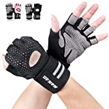 Gym Gloves, SLB Training Gloves with Full Wrist Support, Palm Protection and Extra Grip, Breathable Sport Gloves for Gym and Fitness, Great for Weight lifting, Cross Fit Training (Men & Women-B/L)