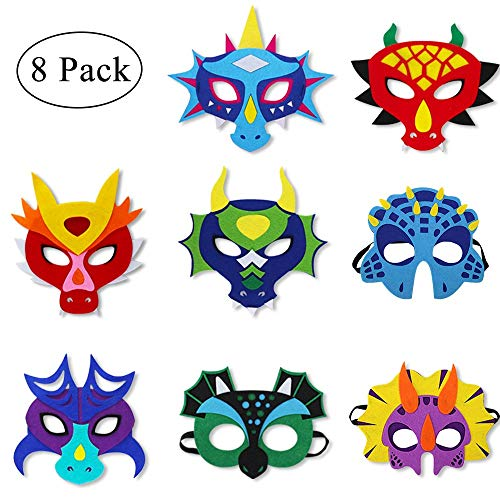 Felt Dragon-Masks for Kids-Toddler Boys Girls Dinosaur Dress Up Costume Themed Birthday Party Favors, 8 Pack ()