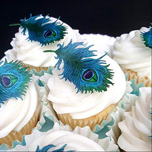 Peacock Cupcake Toppers. 48 Assorted Blue Teal Green ...