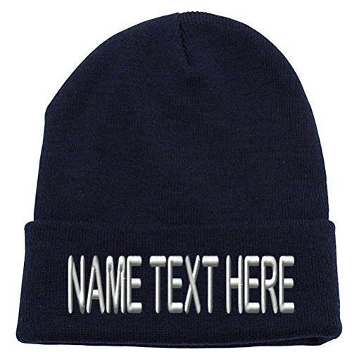 - Caprobot ID Custom Embroidery Personalized Name Text Ski Toboggan Knit Cap Cuffed Beanie Hat - Navy Blue