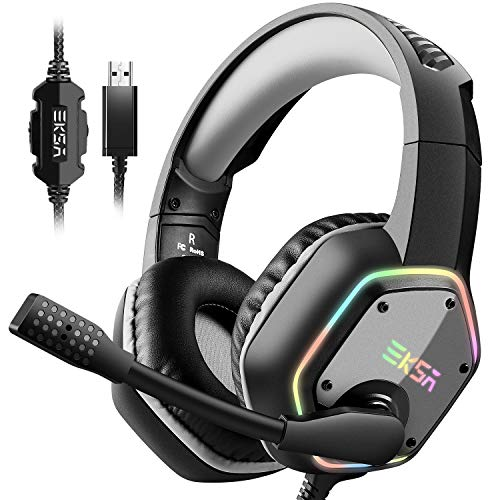 EKSA Gaming Headset with 7.1 Surround Sound Stereo, PS4 USB Headphones with Noise Canceling Mic & RGB Light, Compatible with PC, PS4 Console, Laptop (Gray)