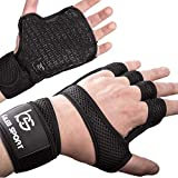 Innovative Weight Lifting Gloves with Special Coating for Non-Slip Grip | Washable & Breathable Material | Integrated Wrist Straps | Great for Pull-Ups, Cross-Training & Gym Workout | Men & Women
