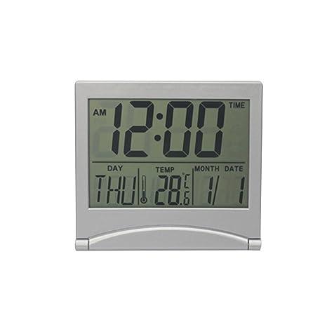 WINOMO Reloj despertador con espejo digital Reloj despertador con temperatura creativa LCD Reloj de mesa ultrafino