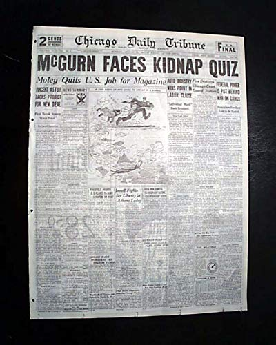 Best JACK Machine Gun McGURN Al Capone's Hit Man IN CUSTODY 1936 Chi. Newspaper CHICAGO SUNDAY TRIBUNE, Aug. 28, 1933