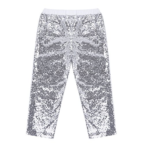 YiZYiF Girls Sparkle Sequins Long Pants Leggings Kids Shiny Clothes for Fancy Party or Dancing Silver 2T