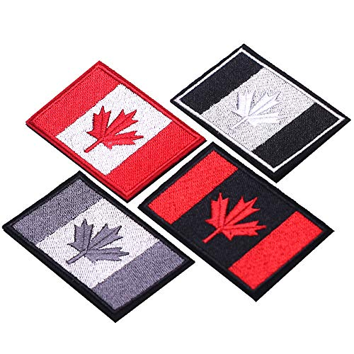 SHELCUP 4 Pieces Canada Flag Canadian Maple Leaf Tactical Morale Patches Military Emblem