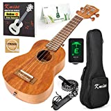 Soprano Ukulele Beginner Ukelele Start Kit Mahogany 21 Inch Hawaiian Uke (Gig Bag Tuner Strap String Instruction Booklet): more info
