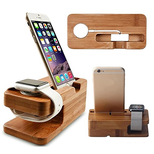 Price comparison product image Great organizer Bamboo Wood Charger Station for Apple Watch Charging Dock Station Charger Stand Holder for iPhone 5s 6 Dock Stand Cradle Holder